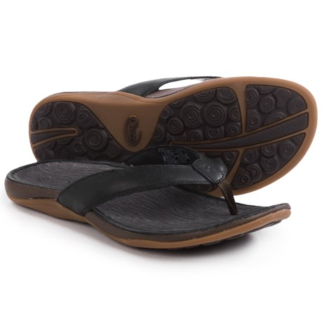 Chaco Sol Flip-Flops - Leather (For Women) in Black