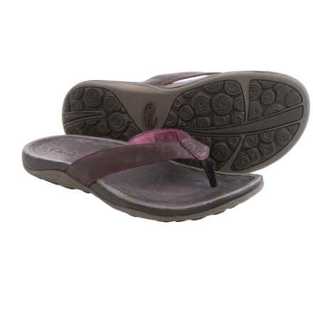 Chaco Sol Flip-Flops - Leather (For Women) in Violet Quartz - Closeouts