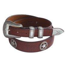 Chacon Bison Belt with Rope Star Conchas (For Men) in Burgundy - Closeouts