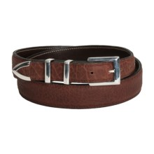 Chacon Manhattan Belt - Bison Leather, Solid Sterling Silver Buckle (For Men) in Burgundy - Closeouts