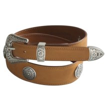 Chacon Ranch Floral Belt - Calfskin Leather (For Women) in Cognac - Closeouts