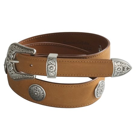 Chacon Ranch Floral Belt - Calfskin Leather (For Women) in Cognac
