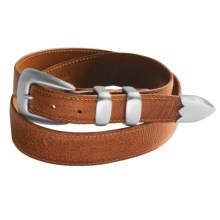 Chacon Small Grain Ostrich Leg Belt - Smooth Buckle (For Men) in Cognac - Closeouts
