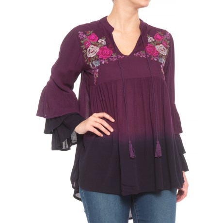 Image of Challis Two-Tone Blouse - Long Sleeve (For Women)