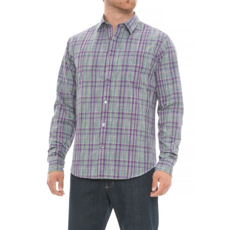 Chambray Check Print Shirt - Long Sleeve (For Men) in Purple Check