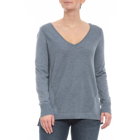 Image of Chambray Heather Double V-Neck Sweater (For Women)