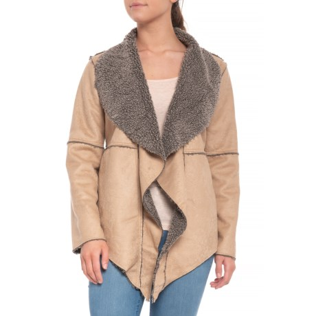 Image of Chamois Embossed Faux-Suede Pile Coat - Open Front (For Women)