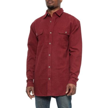 Chamois Shirt - Long Sleeve (For Big and Tall Men) - BURGANDY (3XL )