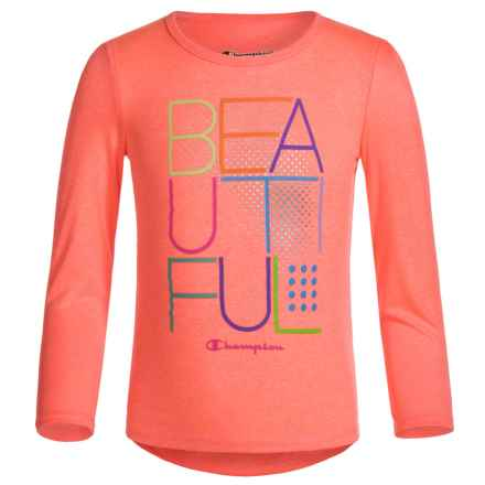 "Champion ""Beautiful"" Graphic T-Shirt - Long Sleeve (For Toddler and Little Girls) in Melon Flare Heather - Closeouts"