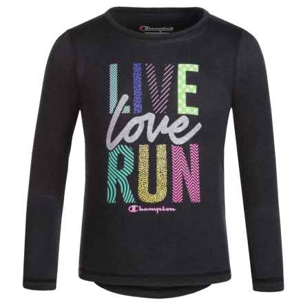 "Champion ""Live Love Run"" Graphic T-Shirt - Long Sleeve (For Toddler and Little Girls) in Black Heather - Closeouts"