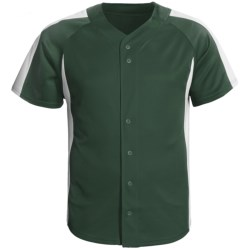 Champion Baseball Shirt - Short Sleeve (For Men and Women) in Green/White