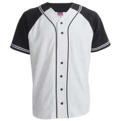 Champion Baseball Shirt - Short Sleeve (For Men and Women) in White/Navy
