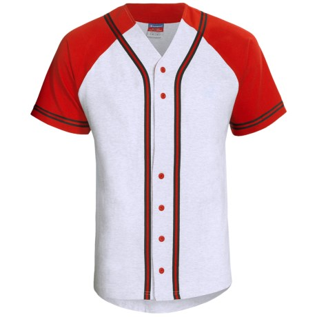 Champion Baseball Shirt - Short Sleeve (For Men and Women) in Grey/Red/Black