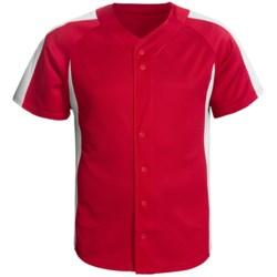 Champion Baseball Shirt - Short Sleeve (For Men and Women) in Green/White