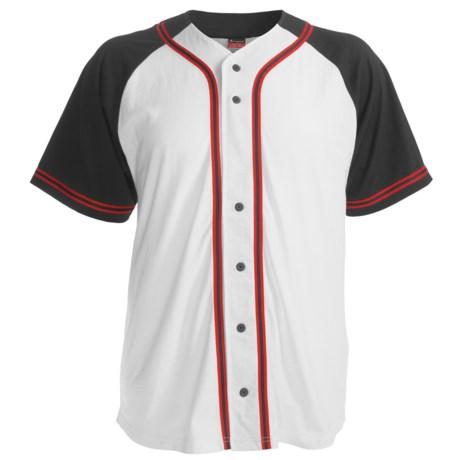 Champion Baseball Shirt - Short Sleeve (For Men and Women) in White/Black