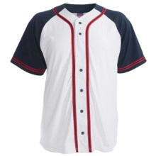Champion Baseball Shirt - Short Sleeve (For Men and Women) in White/Navy - 2nds