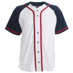 Champion Baseball Shirt - Short Sleeve (For Men and Women) in Grey/Navy/Red