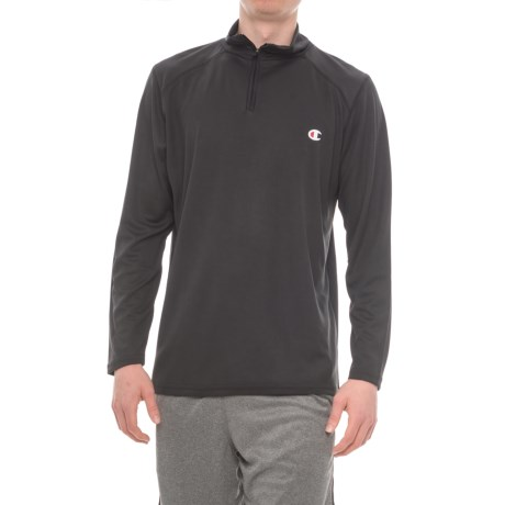 Champion Close Mesh Shirt - Zip Neck, Long Sleeve (For Men) in Black