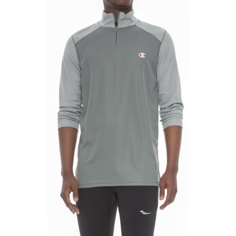 Champion Close Mesh Shirt - Zip Neck, Long Sleeve (For Men) in Grey/Light Grey