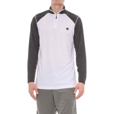 Champion Close Mesh Shirt - Zip Neck, Long Sleeve (For Men) in White/Black - Closeouts