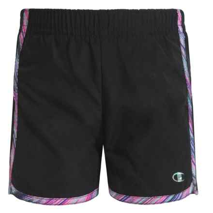 Champion Color-Block Running Shorts (For Little Girls) in Black Ombre Multi - Closeouts