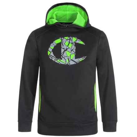Champion Fragmented Logo Hoodie (For Big Boys) in Black/Green Gecko - Closeouts