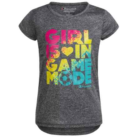 Champion Girl in Game Mode Graphic T-Shirt - Short Sleeve (For Toddler Girls) in Granite Heather - Closeouts