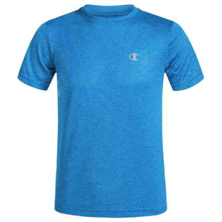 Champion Heathered High-Performance T-Shirt - Short Sleeve (For Big Boys) in Blue - Closeouts