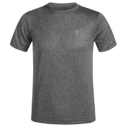 Champion Heathered High-Performance T-Shirt - Short Sleeve (For Big Boys) in Granite Heather - Closeouts