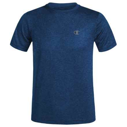 Champion Heathered High-Performance T-Shirt - Short Sleeve (For Big Boys) in Navy/Awesome Blue/Heather - Closeouts