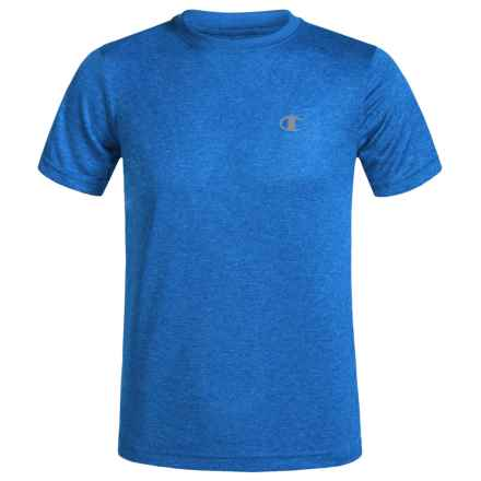 Champion Heathered High-Performance T-Shirt - Short Sleeve (For Big Boys) in Team Blue Heather - Closeouts