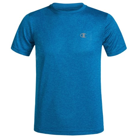 Champion Heathered High-Performance T-Shirt - Short Sleeve (For Little Boys) in Awesome Blue