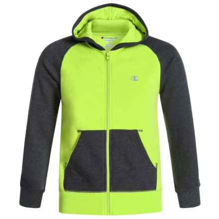 Champion High Color-Block Hoodie - Zip Front (For Big Boys) in Limon/Granite Heather - Closeouts