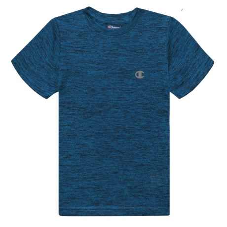 Champion Linear Heather T-Shirt - Short Sleeve (For Toddler and Little Boys) in Awesome Blue Twisted Black Linear Heather