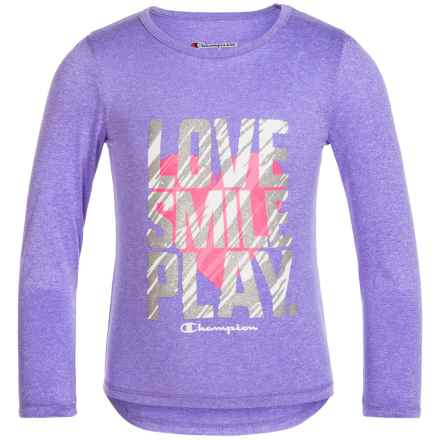 Champion Love Smile Play Graphic T-Shirt - Long Sleeve (For Toddler and Little Girls) in Purple Hebe Heather - Closeouts