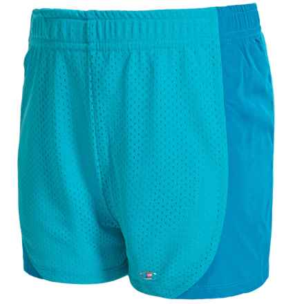 Champion Mesh Athletic Shorts (For Big Girls) in Blue Atoll/Ombre Multi Color2 - Closeouts