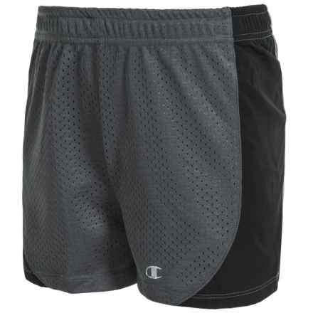 Champion Mesh Athletic Shorts (For Big Girls) in Granite/Black - Closeouts