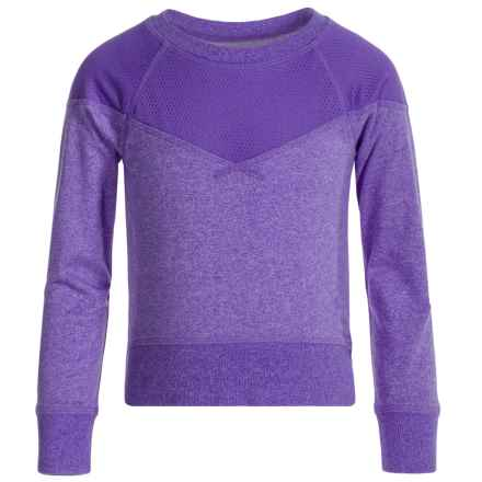 Champion Mesh-Overlay Active T-Shirt - Long Sleeve (For Little Girls) in Electric Purple Heather - Closeouts