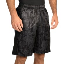 "Champion PowerTrain Shorts - 10"" (For Men) in Black Line Meter/Slate Gray - Closeouts"