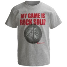 Champion Printed T-Shirt - Short Sleeve (For Boys) in Light Steel My Game Is Rock Solid - Closeouts