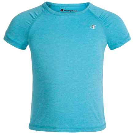 Champion Raglan T-Shirt - Short Sleeve (For Little Girls) in Blue Atoll Heather - Closeouts