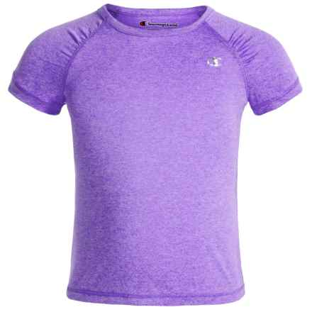 Champion Raglan T-Shirt - Short Sleeve (For Little Girls) in Purple Hebe Heather - Closeouts