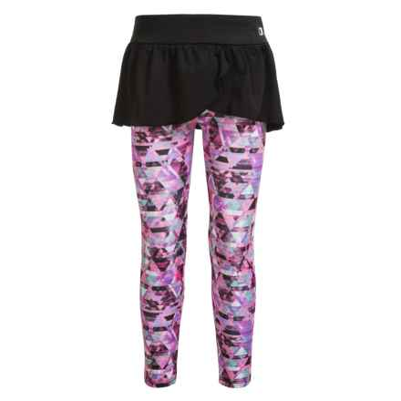 Champion Ruffle-Skirted Leggings (For Little Girls) in Black/Ombre Crystals Print - Closeouts