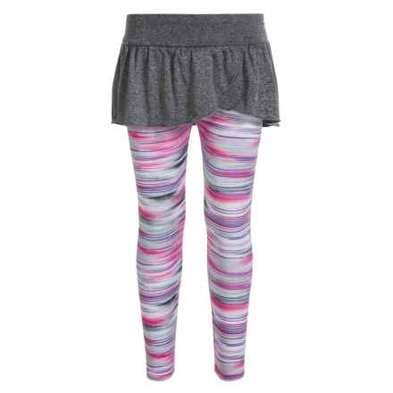 Champion Ruffle-Skirted Leggings (For Little Girls) in Granite Heather/Pink Sunset Print - Closeouts