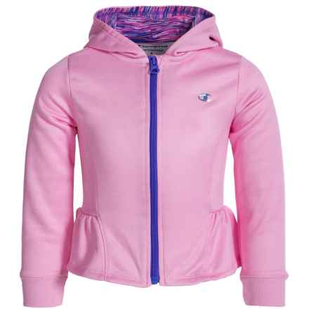 Champion Ruffled Full-Zip Hoodie (For Little Girls) in Prism Pink Heather - Closeouts
