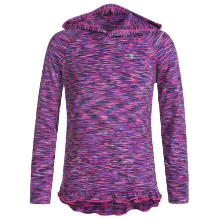 Champion Ruffled Hooded Shirt - Long Sleeve (For Big Girls) in Pink Glow Spacedye - Closeouts