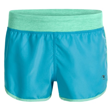 Champion Running Shorts - Built-In Briefs (For Big Girls) in Blue Atoll/Cabbage Heather