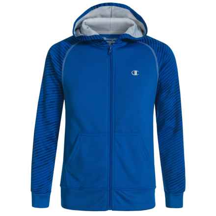 Champion Slide Step Front-Zip Hoodie (For Big Boys) in Awesome Blue/Silverstone - Closeouts