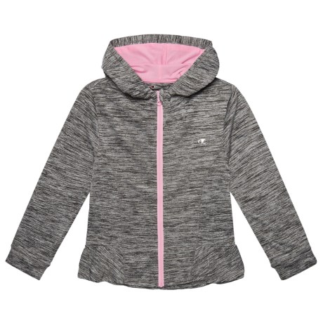 Champion Space-Dyed Ruffle Hoodie (For Big Girls) in Granite Heather