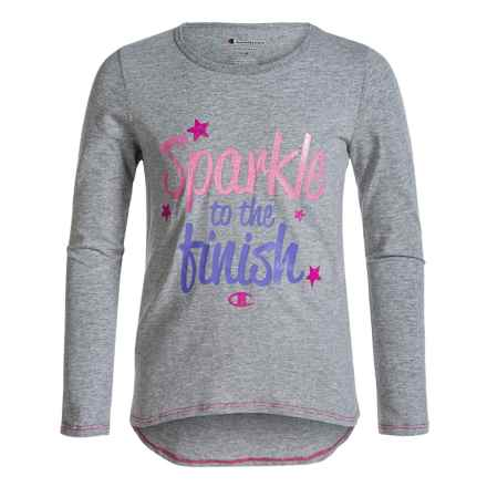 Champion Sparkle to the Finish Graphic T-Shirt - Long Sleeve (For Big Girls) in Oxford Heather - Closeouts